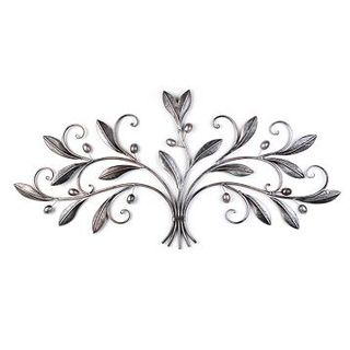 Silver Metal Olive Leaves Plaque