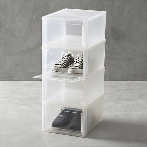 Clear shoe boxes set-of-four
