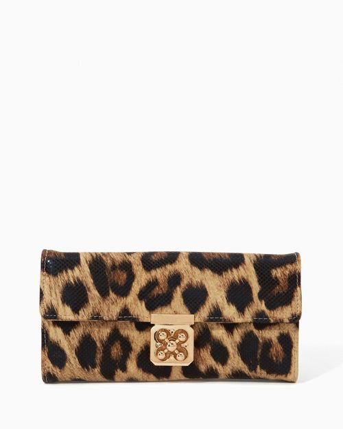 Leopard Lucky Clover Turnlock Wallet