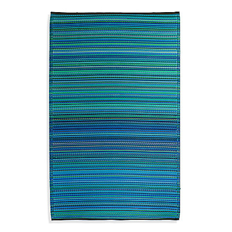 Fab Habitat Cancun Turquoise & Moss Green Indoor Outdoor Rug