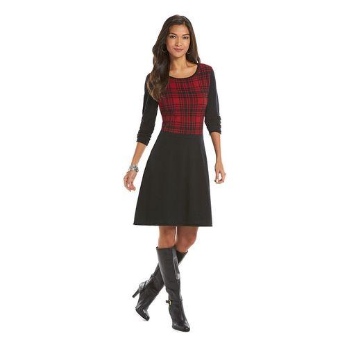 Chaps Plaid Sweaterdress - Women's