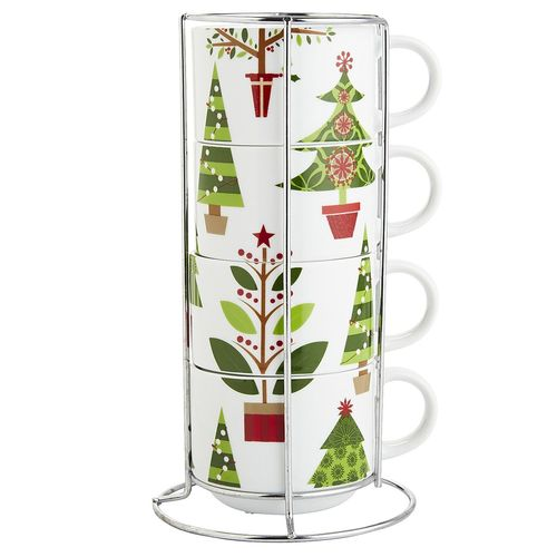 Christmas Tree Stackable Mug Set