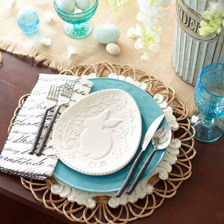 White bunny egg plate