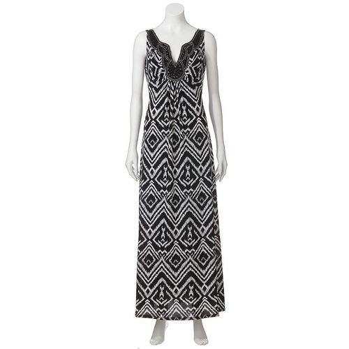 Ronnie Nocole Ikat Empire Maxi Dress