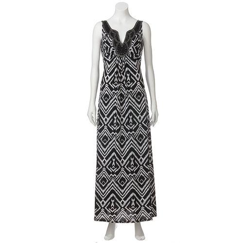Ronnie Nocole Ikat Empire Maxi Dress