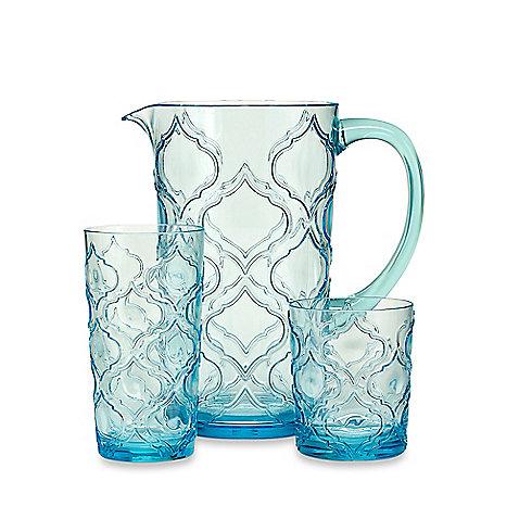 Embossed Patio Tile Drinkware in Aqua