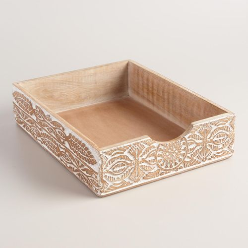 Hand-Carved Wood Gianna Paper Tray