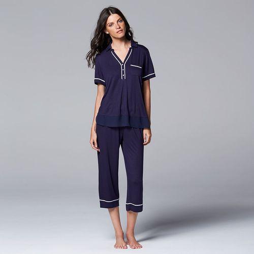 Simply Vera Vera Wang Pajamas Floral Impressions Tee & Capris Pajama Set - Women's