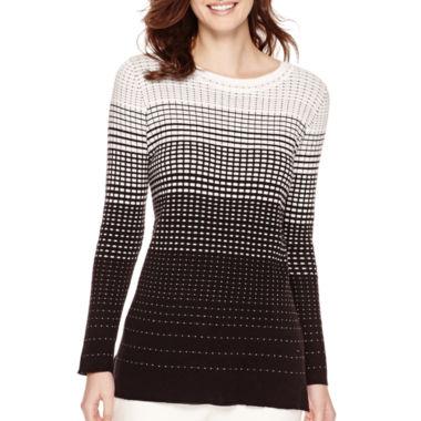 Liz Claiborne Long-Sleeve Patterned Tunic Sweater