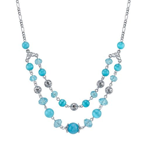 1928 Silver Tone Filigree Bead Swag Necklace
