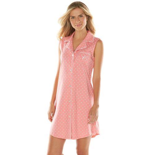 Chaps Pajamas Coral Gable Polka-Dot Knit Sleep Shirt - Women's