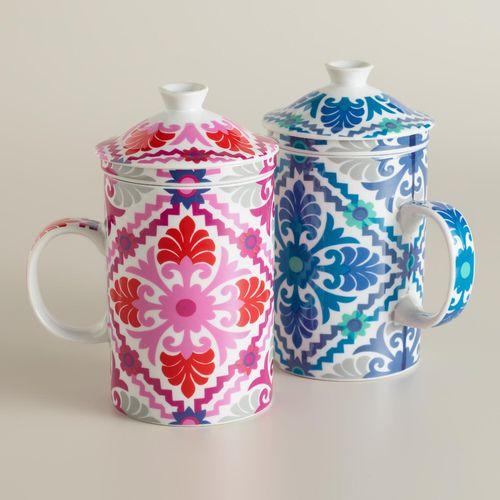 Barcelona Tile Porcelain Infuser Mugs, Set of 2