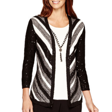 Alfred Dunner Striped Layered Sweater