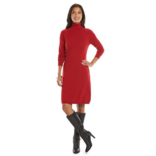 Chaps Turtleneck Shift Dress - Women's